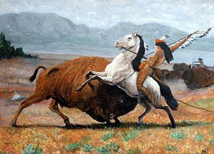 Buffalo Hunt by Boulder artist Tom Roderick