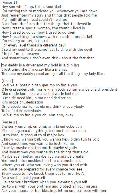 Olamide Letter To Milli Lyrics