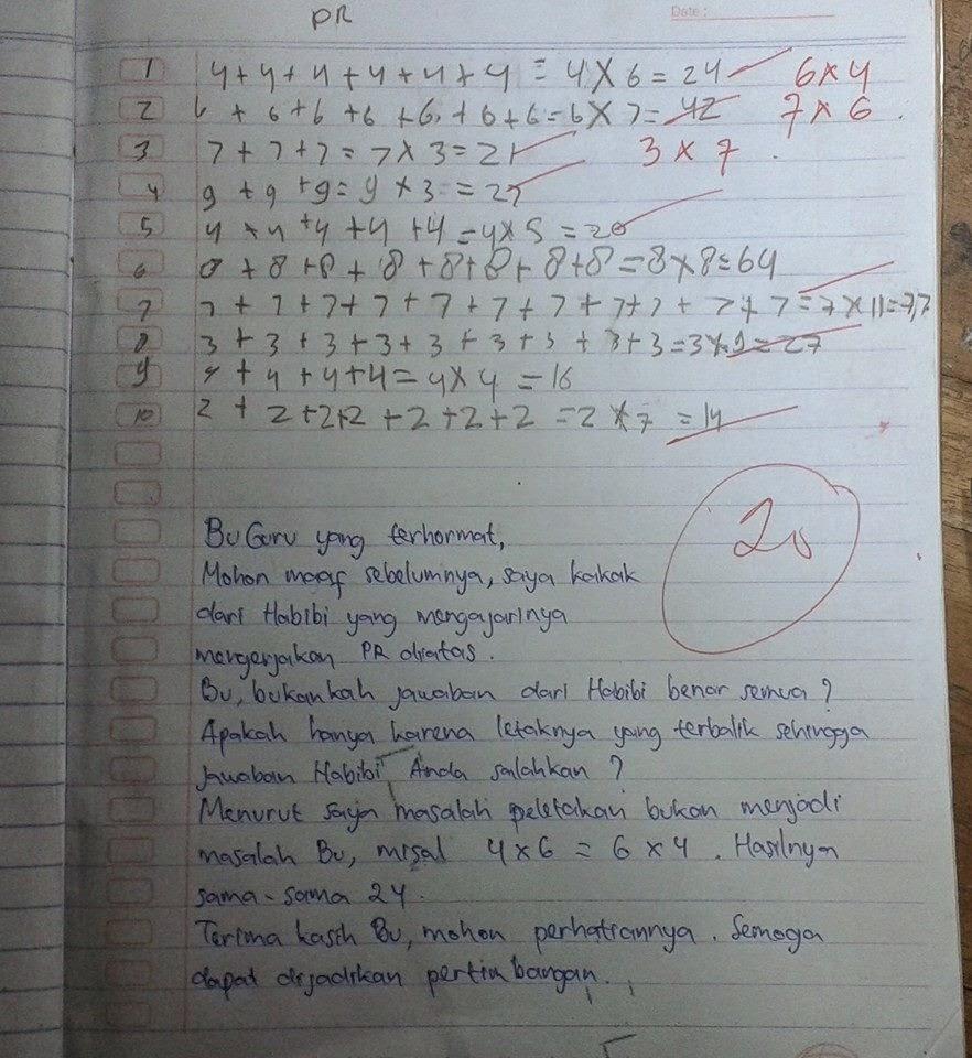 etika membaca surat seorang kakak kepada guru matematika adiknya Kesalahan Konsep Perkalian itu, Berakhir Pada Kematian