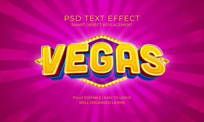 Vegas Bulb Light Text Effect Psd Template