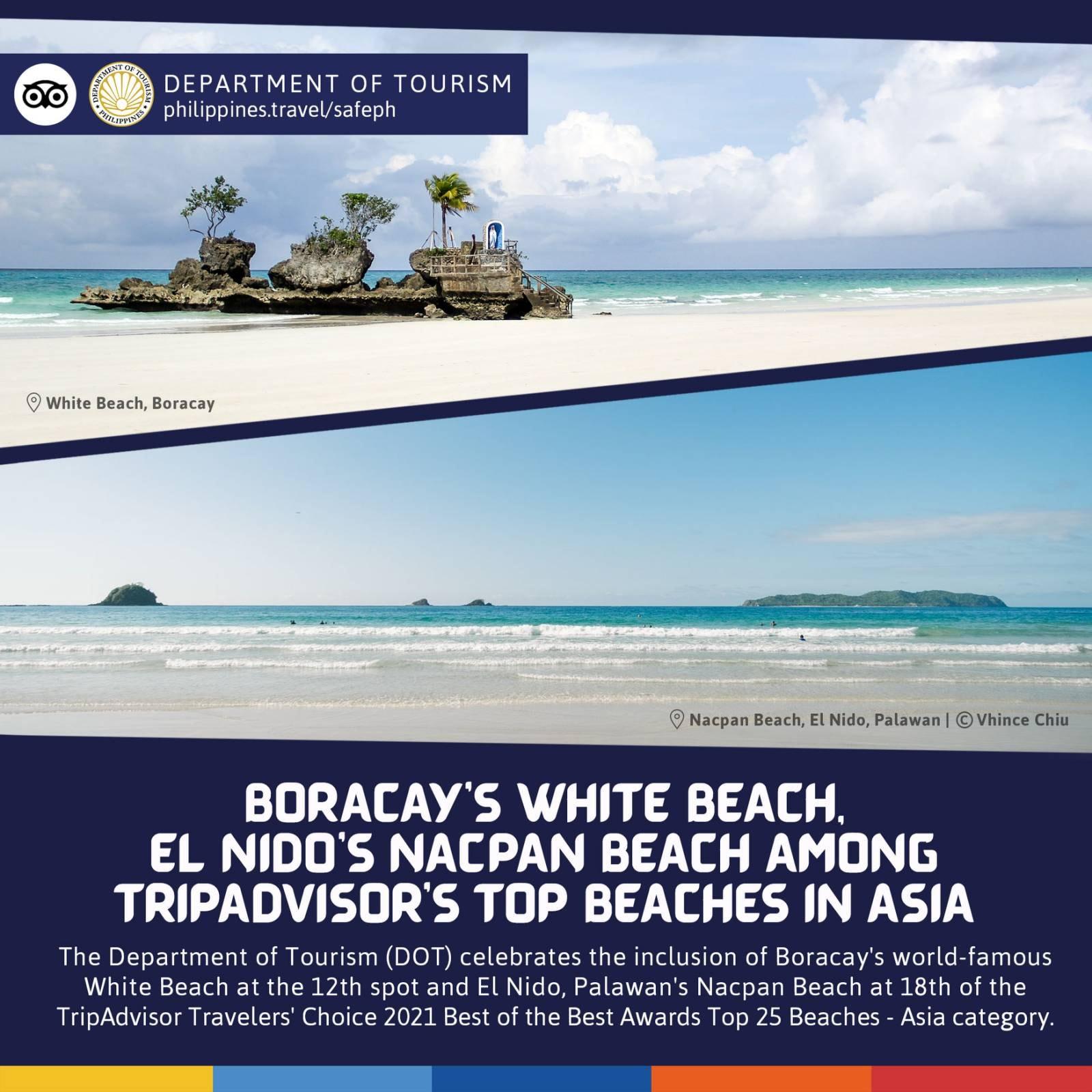 Tripadvisor's Top Beaches in Asia 2021   Boracay's White Beach, El Nido's Nacpan Beach Made It on the List!