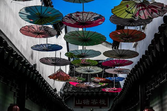 Shantang Street, colorful umbrellas