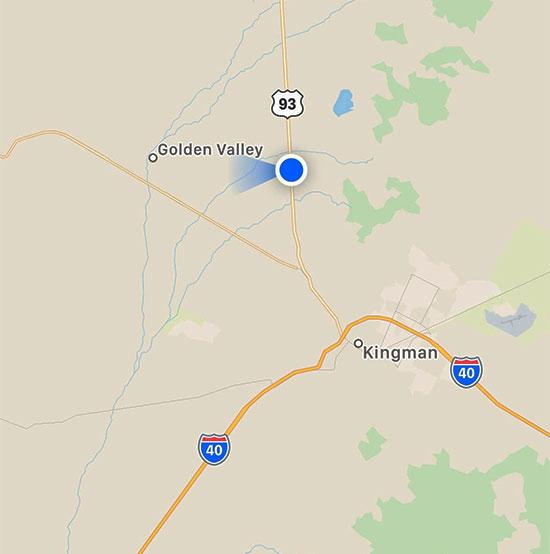 iPhone map location along Highway 93 outside of Kingman, AZ (Source: Palmia Observatory)