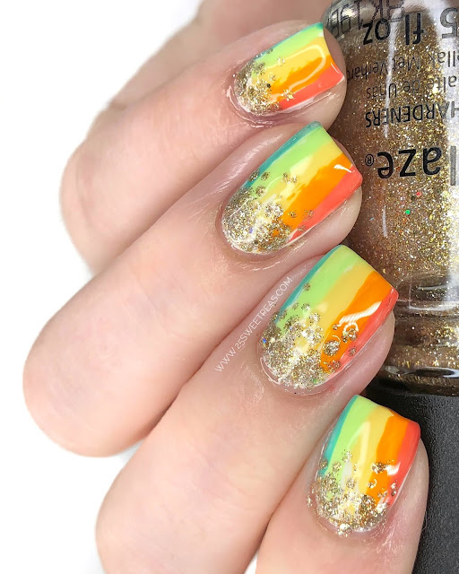 Rainbow Nail art 25 Sweetpeas