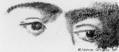 """""""Eyes of Frida Kahlo"""" Charcoal on Paper, c. 2007 1 x 3 inches"""