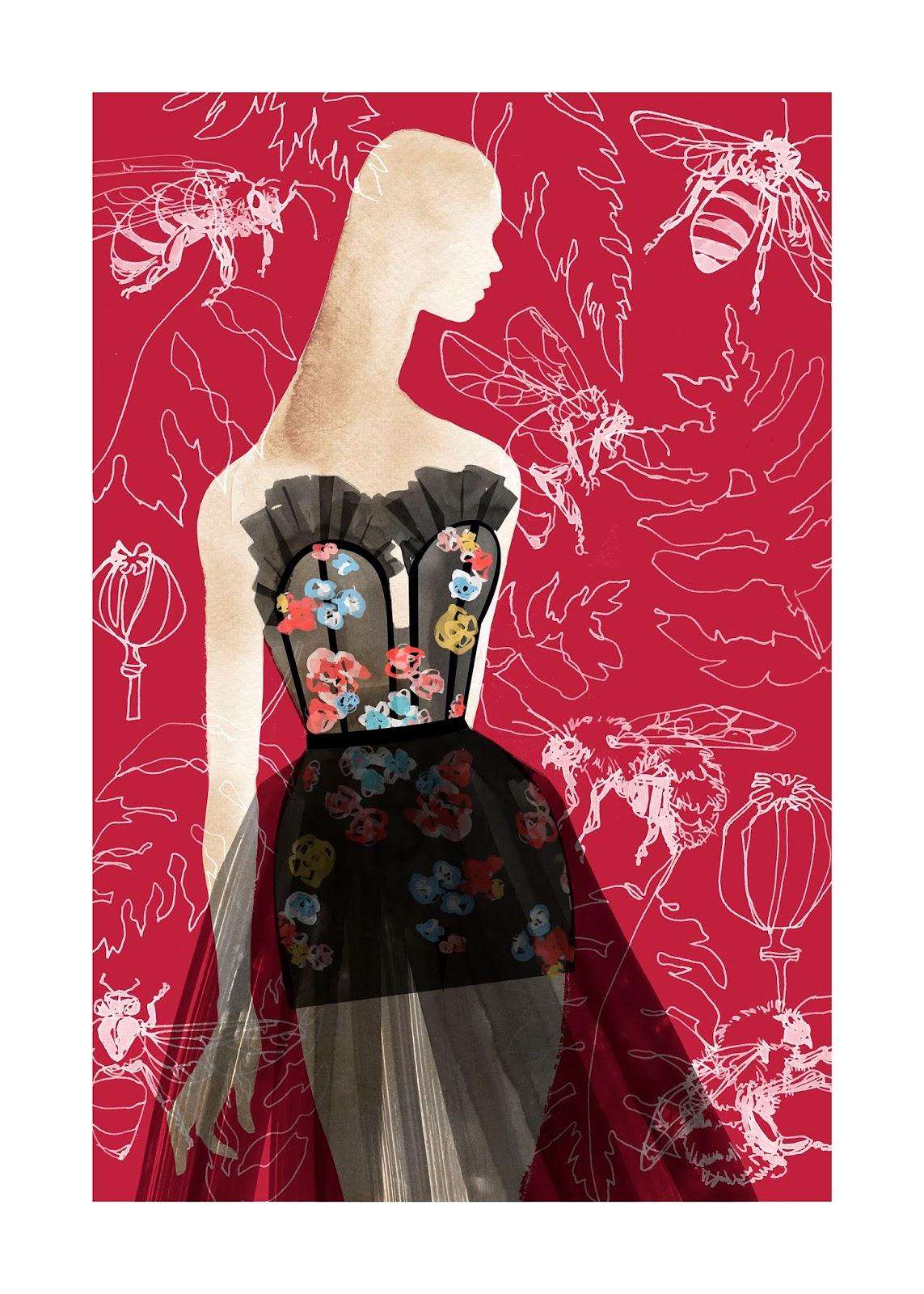 Ilustración de Manuela Montero de mujer con vestido de flores con ruedo de transparencias