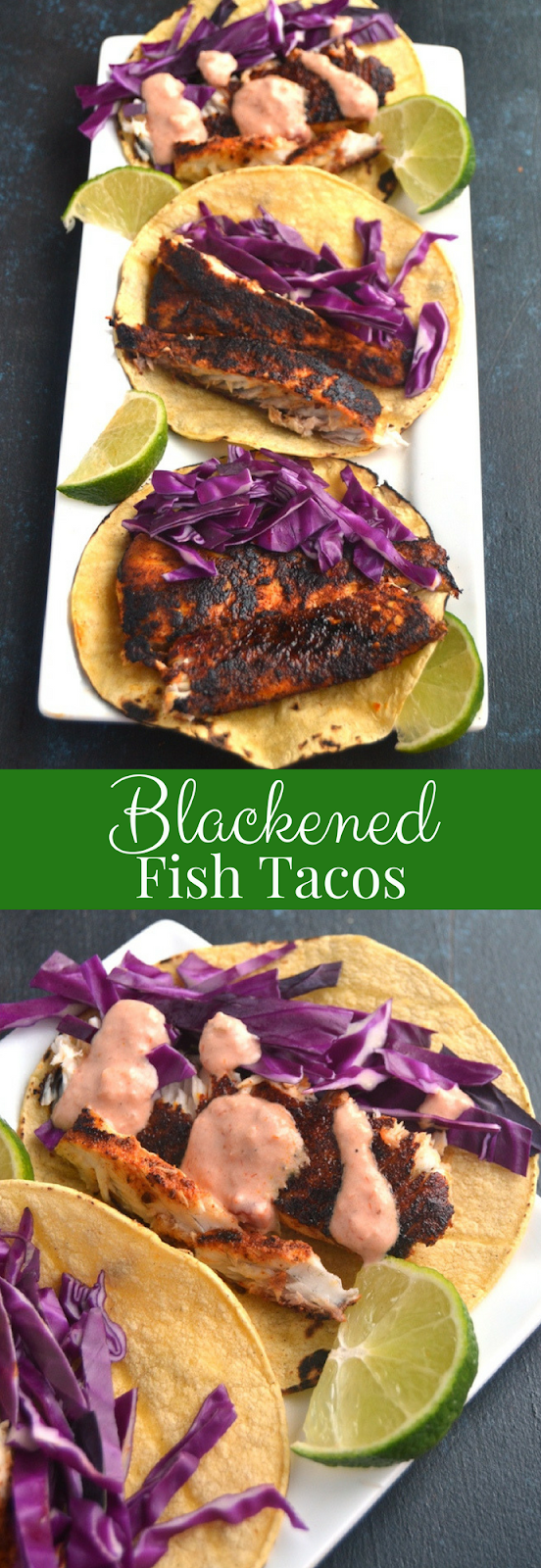 Alaska Blackened Fish Tacos features dry rubbed, blackened sauteed black cod with crunchy red cabbage, fresh lime juice and a creamy salsa dressing in a toasted corn tortilla! www.nutritionistreviews.com