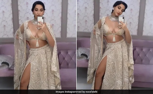 Nora Fatehi Looks Smashing Hot in Thigh High Slit Dress
