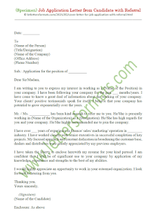 sample of job application letter with referral