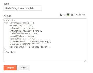 kode pengaturan template
