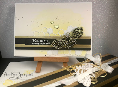 Honey Bee, Art with Heart, blog hop, Stampin Up, Andrea Sargent, Saleabration, 2020, watercolour wash, die cutting, 3D project, Golden Honey Speciality, DSP, Mini Catalogue, Detailed Bees