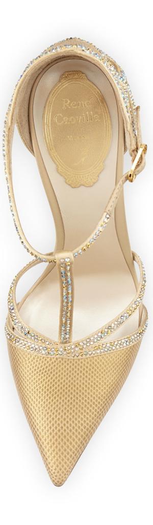 Rene Caovilla Lizard & Crystal T-Strap Pump, Champagne Gold