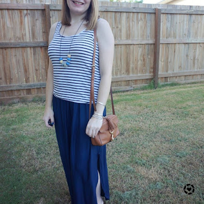 awayformblue instagram | navy striped tank and maxi skirt monochrome outfit with tan rebecca minkoff mab camera bag