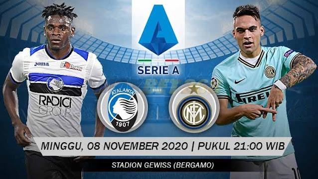 Prediksi Atalanta Vs Inter Milan, Minggu 08 November 2020 Pukul 21.00 WIB