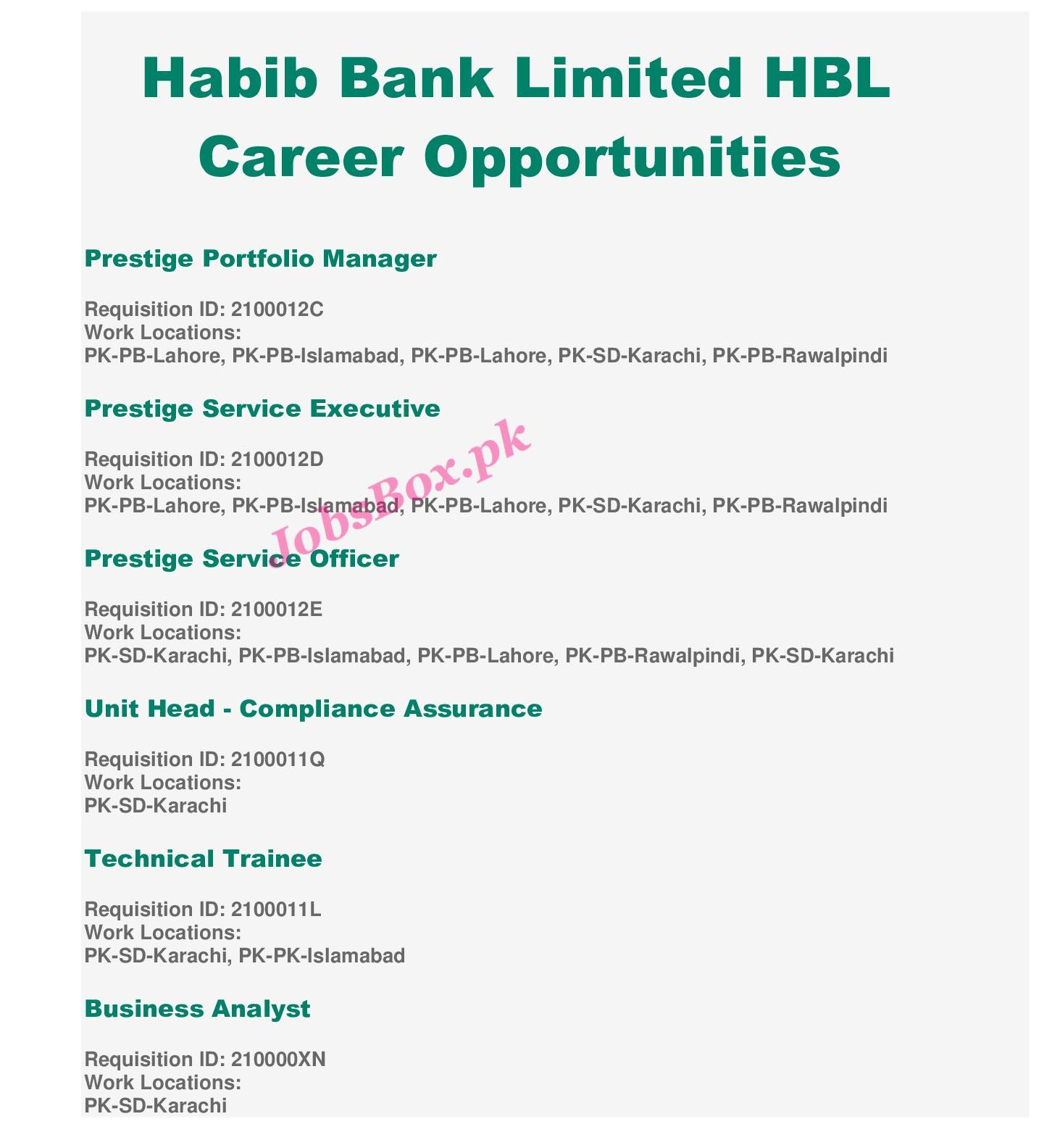 Latest Habib Bank Limited HBL Jobs For All Pakistan 2021 Jobs Advertisement 2021