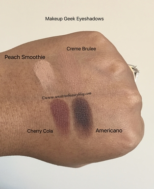 Makeup Geek Eyeshadow Swatches (creme brulee, americano, peach smoothie, cherry cola)