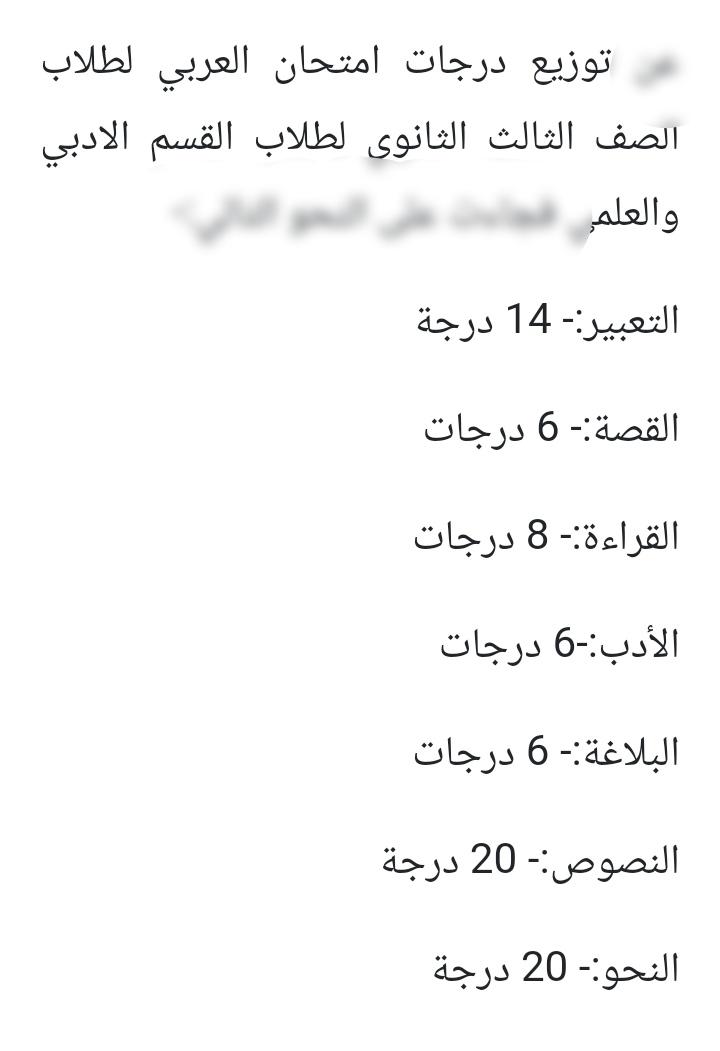 جدول توزيع درجات امتحان العربى للصف الثالث الثانوي 2021