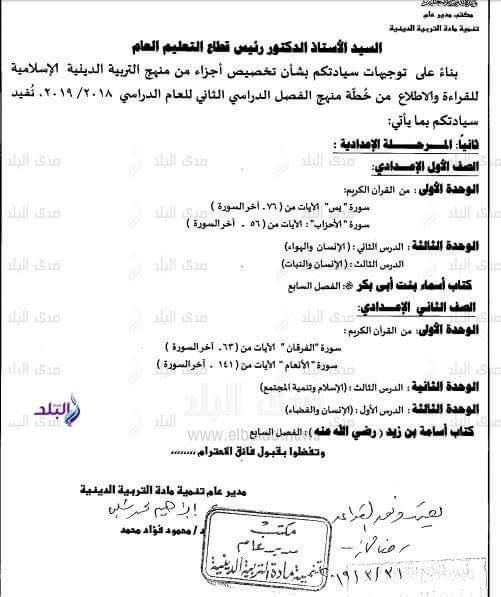 المحذوف فى الدين الاسلامى ابتدائي وإعدادي ترم ثاني 2019 - موقع مدرستى