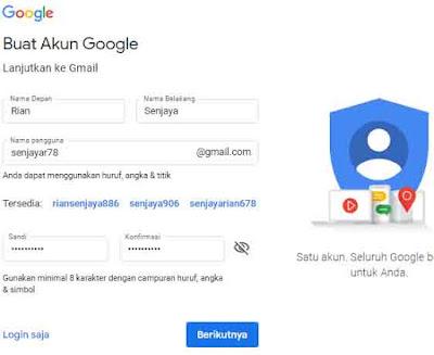 Daftar gmail tanpa ferivikasi nomor Hp
