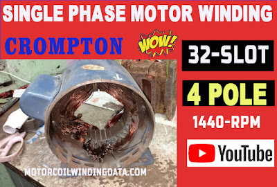 induction motor 1hp single phase 1440 rpm motor winding data coil turns