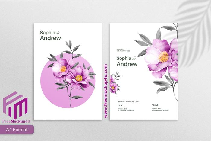Minimalist Wedding Invitation Template With Purple Flower White Background