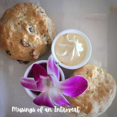 Scones, clotted cream, and jam at the Rose & Crown Pub tea experience in Epcot UK