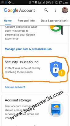 google chrome gmail account security issues found