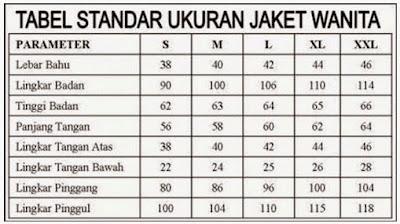 gambar tabel ukuuran jaket kulit wanita