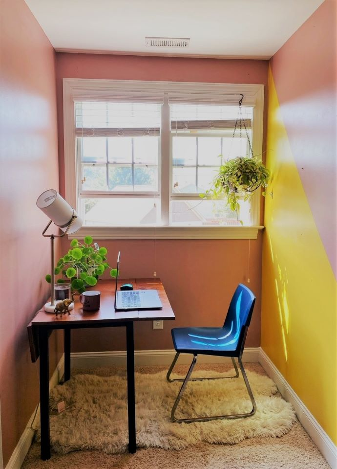 work from home nook painted sunny colors