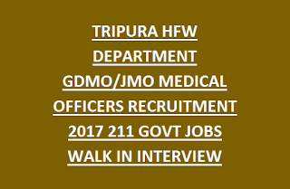 TRIPURA HFW DEPARTMENT GDMO, JMO MEDICAL OFFICERS RECRUITMENT NOTIFICATION 2017 211 GOVT JOBS WALK IN INTERVIEW