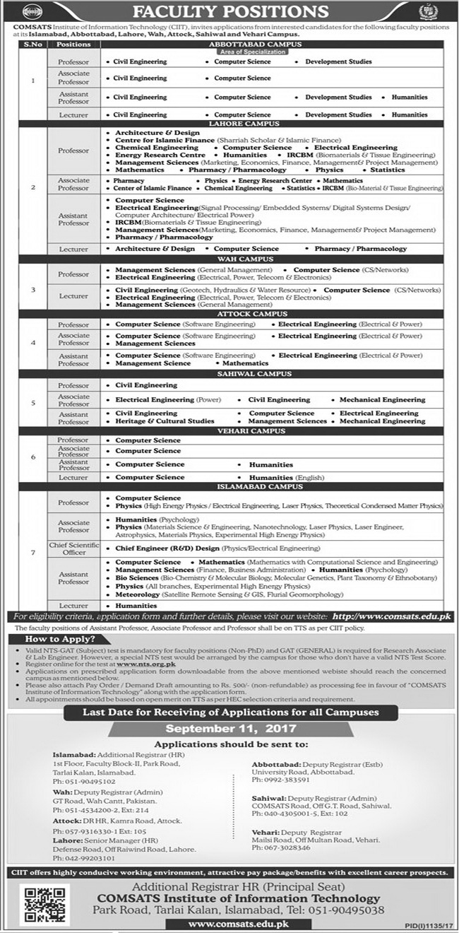 Jobs in Comsats Institutes of Information Technology