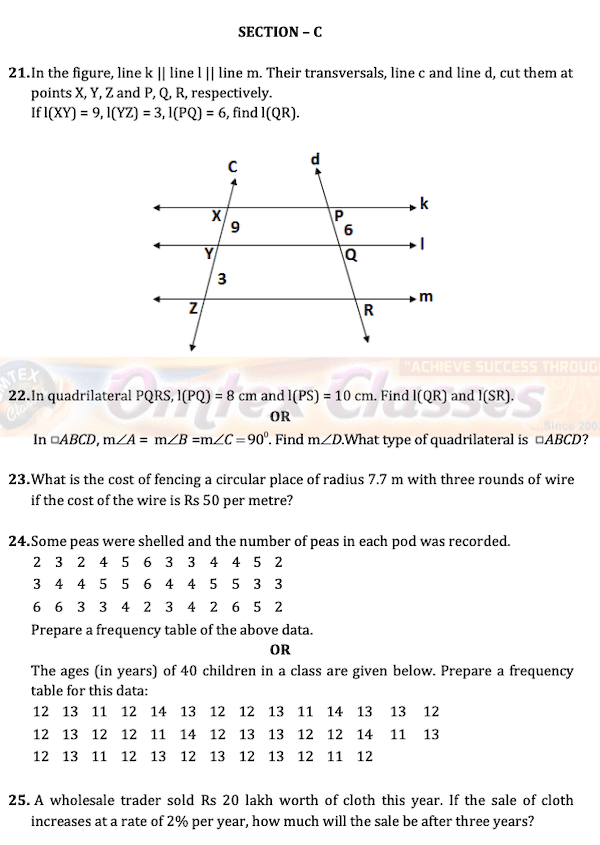Class 8 Maths Board Question Papers.