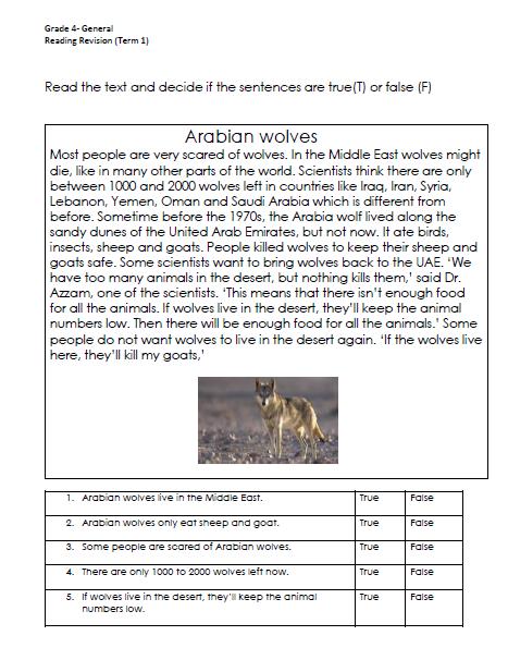 مراجعة امتحان اللغة الانجليزية للصف الرابع