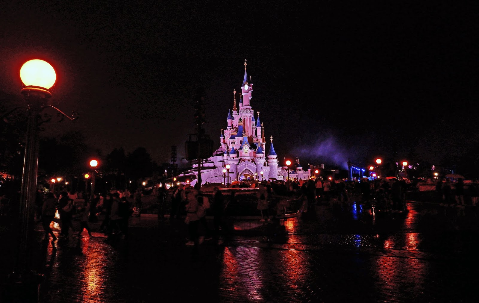 Sleeping Beauty Castle at night during Halloween season, Disneyland Paris