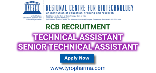 RCB Recruitment, Regional Centre for Biotechnology, Technical Assistant, Senior Technical Assistant job, Department of Biotechnology, B.Pharm, M. Pharm,