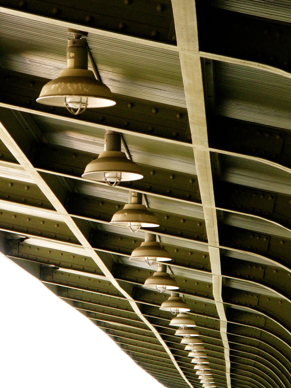 Industrial lights at Utica NY train station