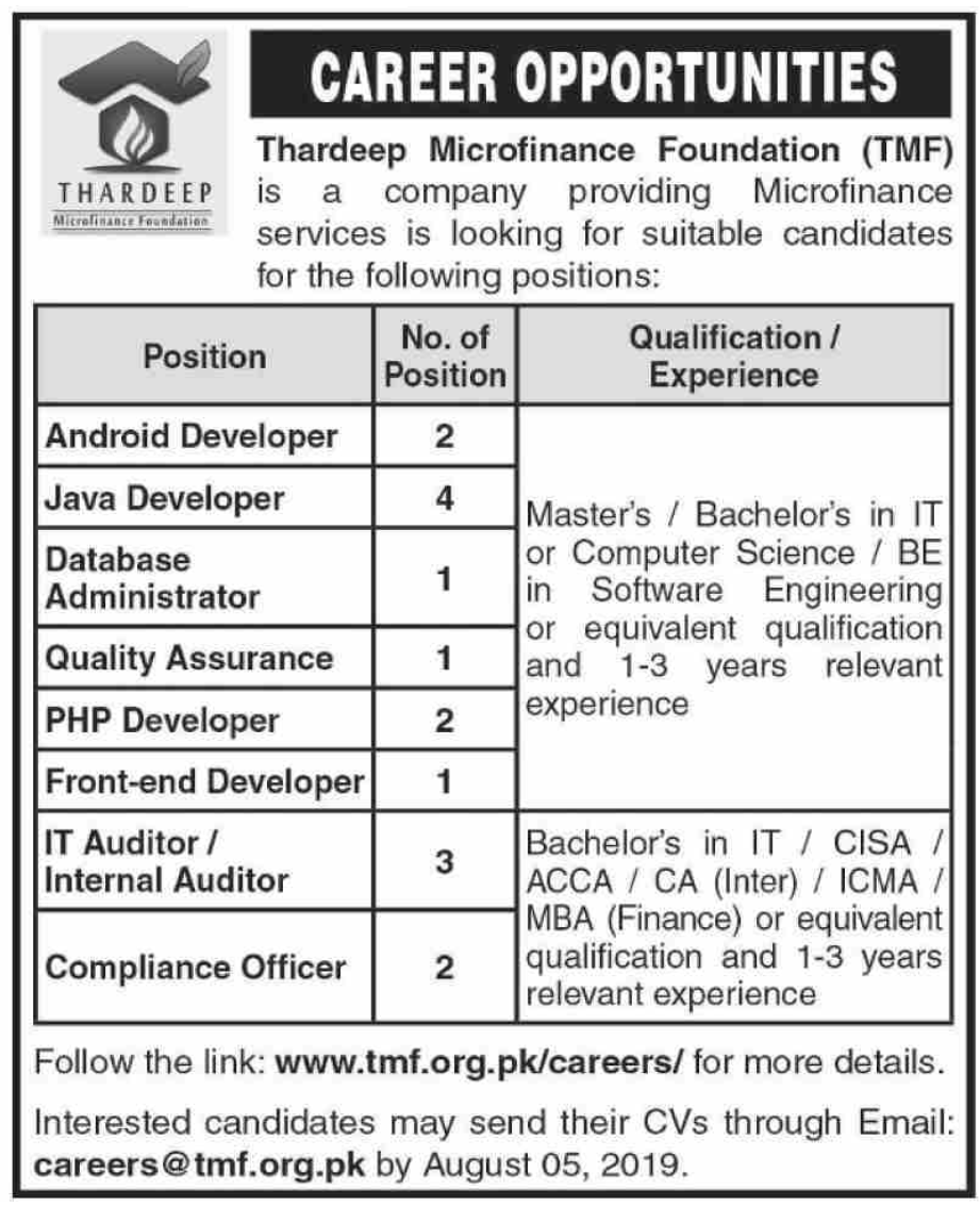 Thardeep Microfinance Foundation TMF Jobs 2019