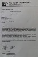 surat edaran pengosongan lahan dari PT AGRA