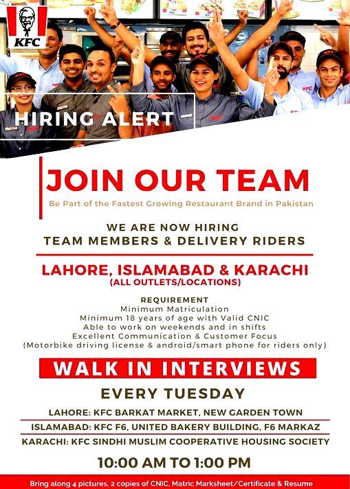 KFC Pakistan Latest Jobs Restaurant Walk In Interview August 2021