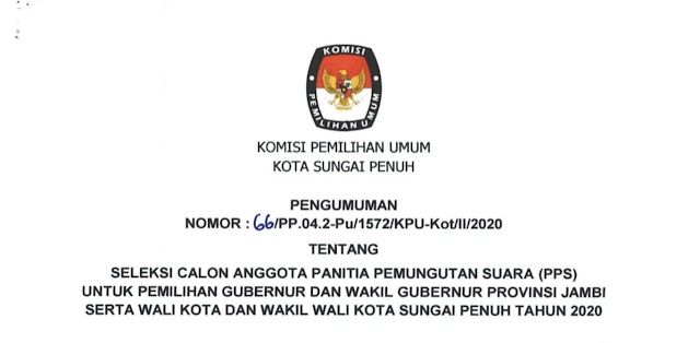 KPU Sungai Penuh Rekrut Calon Anggota PPS Untuk Pilgub dan Pilwako 2020