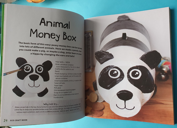 Eco Craft Book showing how to make a money box from bottles