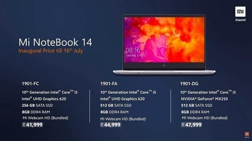 Xiaomi officially announces Mi NoteBook 14