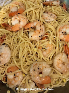 Combined shrimp and pasta
