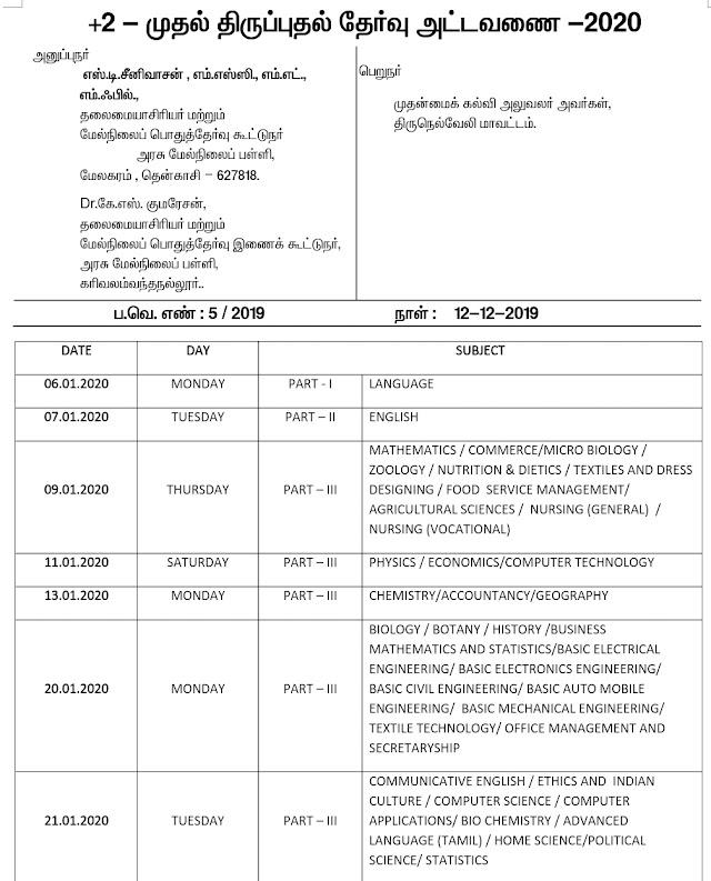 திருநெல்வேலி மாவட்ட 12ம் வகுப்பு முதல் திருப்புதல் தேர்வு அட்டவணை