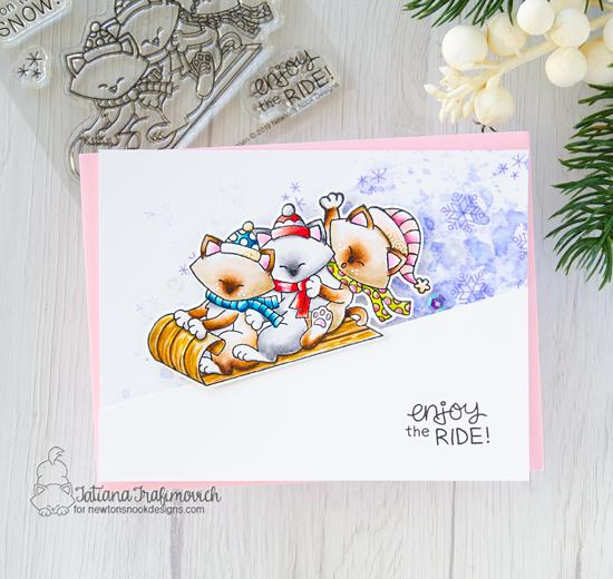 Sledding Kitties card by Tatiana Trafimovich | Newton's Toboggan Stamp Set by Newton's Nook Designs #newtonsnook #handmade