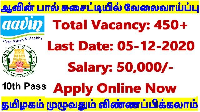 Aavin Milk Recruitment 2020 | 460 Vacancies