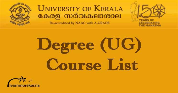 Kerala University degree course list