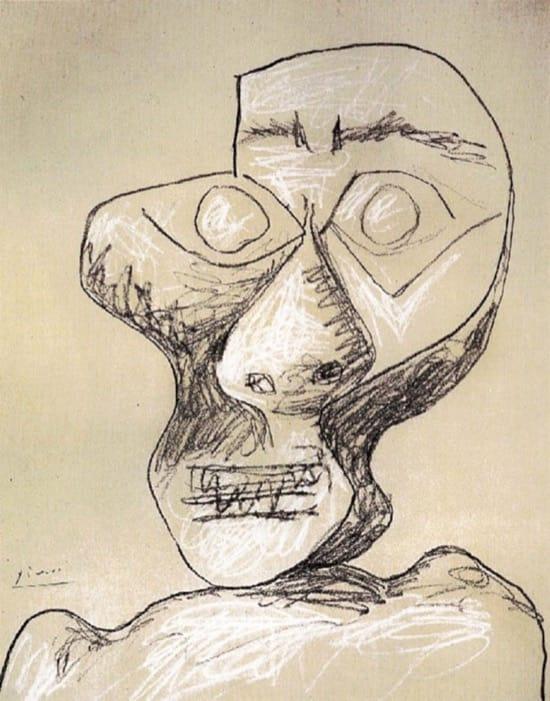 Autorretrato de Picasso el 2 julio de 1972, con 90 años
