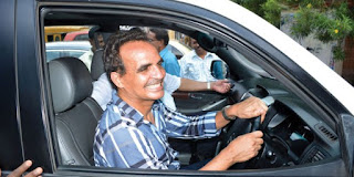 DRIVING TO FREEDOM: St Cruz MLA Atanasio 'Babush' Monserrate drives his car after the children's court granted him conditional bail on Wednesday in the alleged minor girl rape case