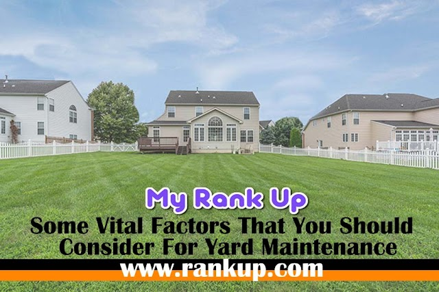 Some Vital Factors That You Should Consider For Yard Maintenance